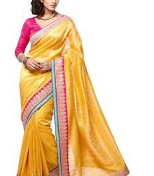 Buy Yellow embroidered bhagalpuri silk saree with blouse bhagalpuri-silk-saree online