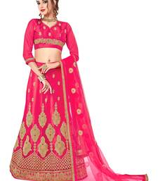 Buy Pink embroidered net semi stitched lehenga ethnic-lehenga online