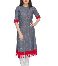 Buy Grey embroidered cotton-kurtis cotton-kurtis online