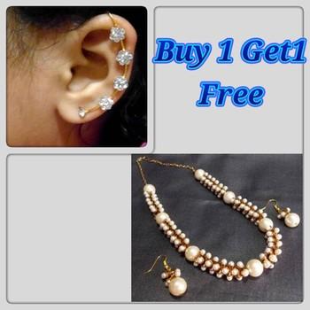 Buy 1 Get 1 Free Golden Damru Pearl Neckalce Set