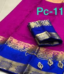 Buy Magenta self jacquard balaton silk saree with unstitched blouse south-indian-saree online