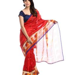 Buy Chhabra 555 Red Printed Bhagalpuri Cotton Saree With Blouse bhagalpuri-silk-saree online