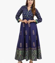Buy Navy blue printed cotton long kurtis long-kurtis online