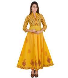 Buy Yellow printed cotton long kurtis long-kurtis online