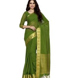 Buy Mimosa olive chiffon kanjivaram style saree with blouse chiffon-saree online