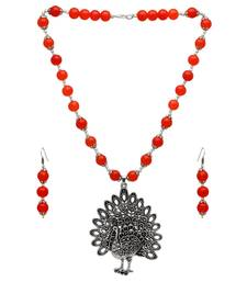 Buy Orange Color Imitation Pearl Peacock Design Oxidised Necklace With Earrings necklace-set online