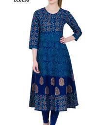 Buy Blue printed cotton long kurtis long-kurtis online