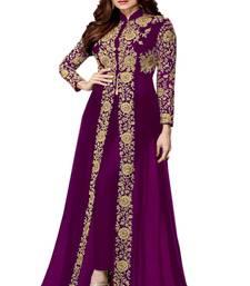 Buy Purple embroidered georgette salwar anarkali-salwar-kameez online