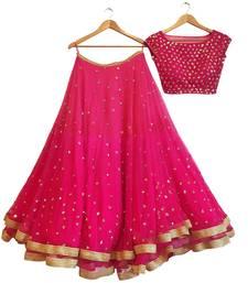 Buy Pink Georgette Embroidered Semi Stitched Lehenga Choli Material With Matching Net Dupatta lehenga-choli online