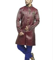 Buy maroon brocade semi indowestern with embroidered collar butta and buttons with contrast blue bridges indo-western-dress online