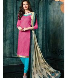 Buy Pink plain jacquard unstitched salwar with dupatta ethnic-suit online