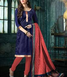 Buy Blue plain jacquard unstitched salwar with dupatta ethnic-suit online