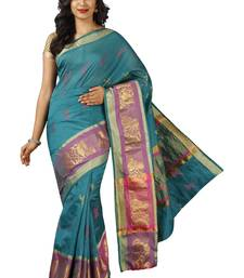 Buy Blue plain cotton silk saree cotton-silk-saree online
