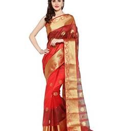 Buy Chhabra 555 Red Woven Banarasi Silk Saree With Blouse all-seasons-saree online