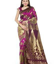 Buy Chhabra 555 Pink Woven Banarasi Silk Saree With Blouse all-seasons-saree online
