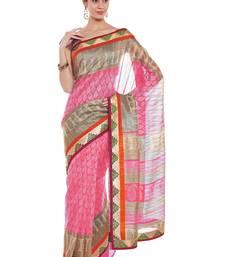 Buy Chhabra 555 Pink Printed Cotton Silk Saree With Blouse all-seasons-saree online