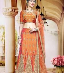 Buy Orange zari embrodiery silk designer lehenga with blouse and dupatta lehenga-choli online