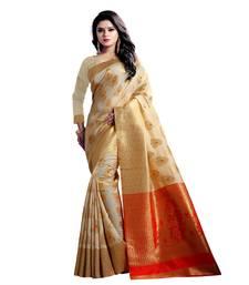 Buy Beige woven banarasi silk saree with blouse pongal-dhoti-saree online