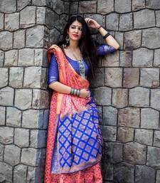Buy Blue woven patola saree with blouse patola-saris online