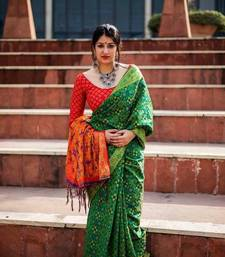 Buy Green woven patola saree with blouse patola-saris online
