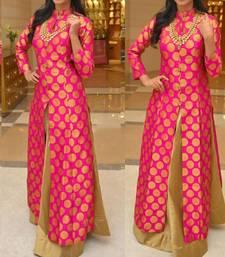 Buy Rani Pink Brocade Party wear Lehenga Suit party-lehenga online