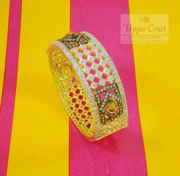 CZ Broad Bangle Bracelet Openable Kada