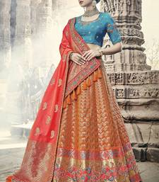 Buy Orange embroidered silk semi stitched lehenga bridal-lehenga online