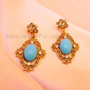 Turquoise Filigree Victorian Earrings