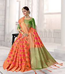 Buy Orange woven art silk saree with blouse patola-saris online
