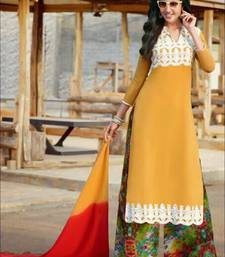 Buy Yellow and white designer semi stitched georgette palazzo suit with dupatta palazzo online