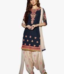 Buy Navy-blue embroidered cotton salwar punjabi-suit online
