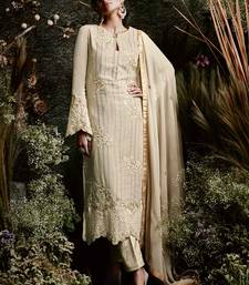 Buy Beige embroidered georgette salwar pakistani salwar kameez with dupatta pakistani-salwar-kameez online