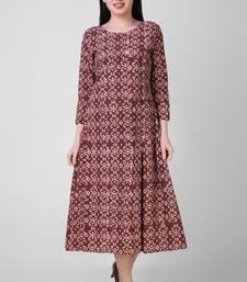 Buy Rust Dabu cotton side pleat dress dress online