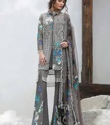 Buy Grey embroidered net unstitched salwar with dupatta sharara online