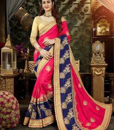 Buy Pink embroidered art silk saree with blouse heavy-work-saree online