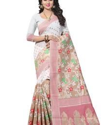 Buy White woven banarasi saree with blouse pongal-dhoti-saree online