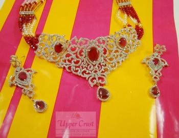 CZ Bridal Multi Collar Choker Necklace Set