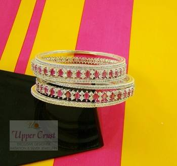 Rhodium Plated Ruby CZ Zircone Bangles Kada Set