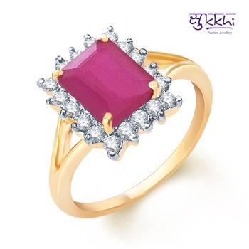 Sukkhi  Gold  and Rodium plated CZ Studded Ruby Ring