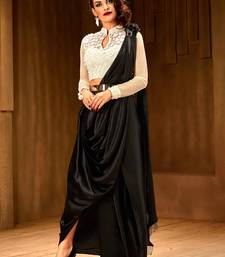 Buy Khwaab Black and White satin stone Work designer saree with Stitched Blouse pre-stitched-saree online
