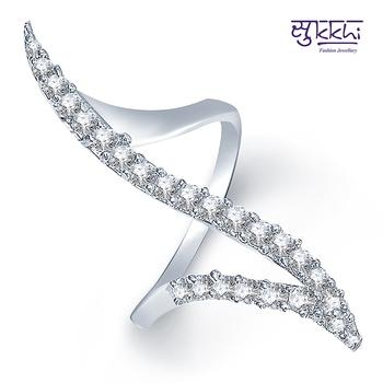 Sukkhi Rodium plated CZ Studded Ring