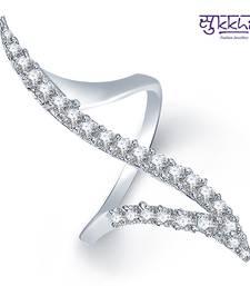 Buy Sukkhi Rodium plated CZ Studded Ring Ring online