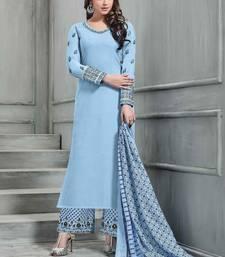 Buy Sky-blue embroidered banarasi silk palazzo salwar palazzo online