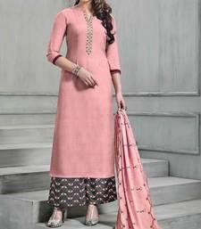 Buy Peach embroidered banarasi silk palazzo salwar palazzo online