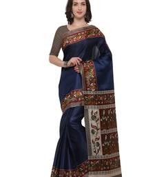 Buy Inddus navy blue art silk printed saree with blouse art-silk-saree online