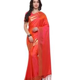 Buy Inddus orange art silk solid with foil border saree with blouse art-silk-saree online