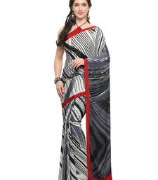 Buy Inddus off white crepe printed saree with blouse crepe-saree online
