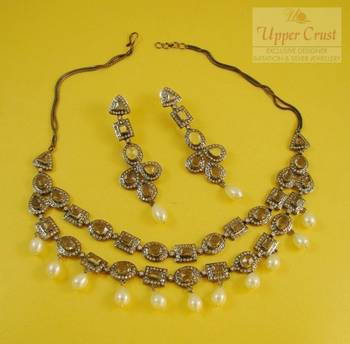 Regal Victorian Vintage Style CZ Pearl Necklace Earring Jewellery