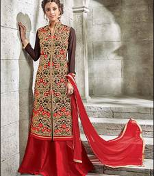 Buy Brown embroidered georgette semi stitched salwar with dupatta semi-stitched-salwar-suit online