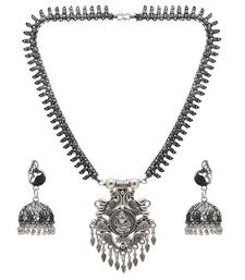 Buy Silver Color Oxidised Necklace With Earrings necklace-set online